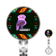 Owl A Colorful Modern Illustration For Lovers Stainless Steel Nurses Watch