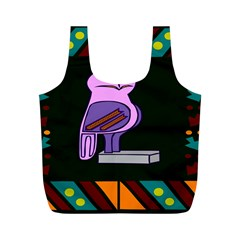 Owl A Colorful Modern Illustration For Lovers Full Print Recycle Bags (M)