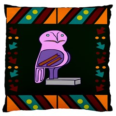 Owl A Colorful Modern Illustration For Lovers Large Flano Cushion Case (Two Sides)