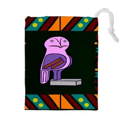 Owl A Colorful Modern Illustration For Lovers Drawstring Pouches (extra Large)
