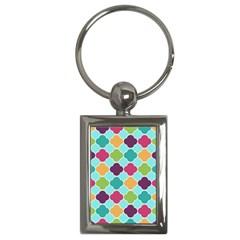 Colorful Quatrefoil Pattern Wallpaper Background Design Key Chains (Rectangle)