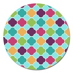 Colorful Quatrefoil Pattern Wallpaper Background Design Magnet 5  (round)