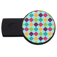 Colorful Quatrefoil Pattern Wallpaper Background Design Usb Flash Drive Round (2 Gb)