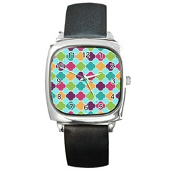 Colorful Quatrefoil Pattern Wallpaper Background Design Square Metal Watch
