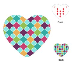 Colorful Quatrefoil Pattern Wallpaper Background Design Playing Cards (heart)
