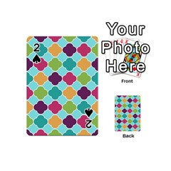 Colorful Quatrefoil Pattern Wallpaper Background Design Playing Cards 54 (mini)