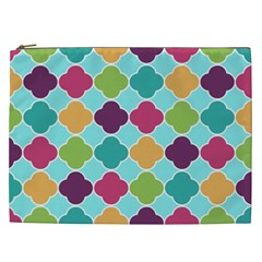 Colorful Quatrefoil Pattern Wallpaper Background Design Cosmetic Bag (XXL)