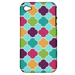 Colorful Quatrefoil Pattern Wallpaper Background Design Apple Iphone 4/4s Hardshell Case (pc+silicone)
