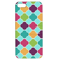Colorful Quatrefoil Pattern Wallpaper Background Design Apple iPhone 5 Hardshell Case with Stand
