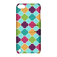 Colorful Quatrefoil Pattern Wallpaper Background Design Apple iPod Touch 5 Hardshell Case with Stand