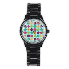 Colorful Quatrefoil Pattern Wallpaper Background Design Stainless Steel Round Watch