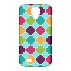 Colorful Quatrefoil Pattern Wallpaper Background Design Samsung Galaxy S4 Classic Hardshell Case (PC+Silicone)