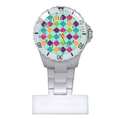 Colorful Quatrefoil Pattern Wallpaper Background Design Plastic Nurses Watch