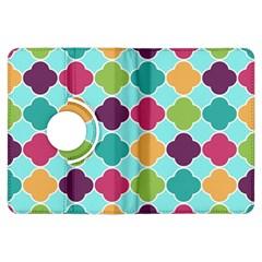Colorful Quatrefoil Pattern Wallpaper Background Design Kindle Fire HDX Flip 360 Case