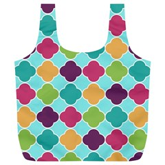 Colorful Quatrefoil Pattern Wallpaper Background Design Full Print Recycle Bags (l)