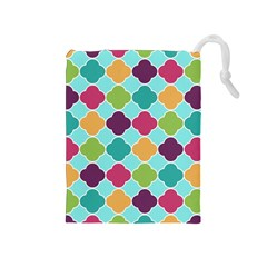 Colorful Quatrefoil Pattern Wallpaper Background Design Drawstring Pouches (Medium)