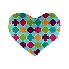 Colorful Quatrefoil Pattern Wallpaper Background Design Standard 16  Premium Flano Heart Shape Cushions