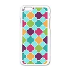 Colorful Quatrefoil Pattern Wallpaper Background Design Apple Iphone 6/6s White Enamel Case