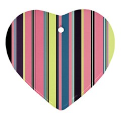 Seamless Colorful Stripes Pattern Background Wallpaper Ornament (Heart)