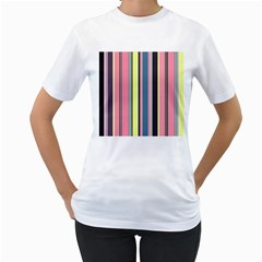 Seamless Colorful Stripes Pattern Background Wallpaper Women s T-Shirt (White) (Two Sided)