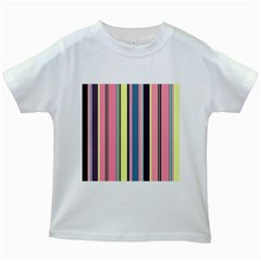 Seamless Colorful Stripes Pattern Background Wallpaper Kids White T-Shirts