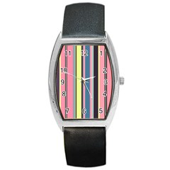 Seamless Colorful Stripes Pattern Background Wallpaper Barrel Style Metal Watch