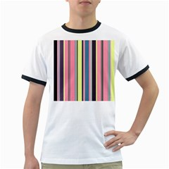Seamless Colorful Stripes Pattern Background Wallpaper Ringer T-Shirts