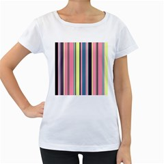 Seamless Colorful Stripes Pattern Background Wallpaper Women s Loose Fit T Shirt (white)