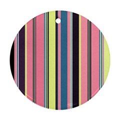 Seamless Colorful Stripes Pattern Background Wallpaper Round Ornament (two Sides)