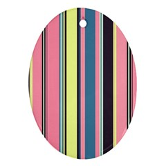 Seamless Colorful Stripes Pattern Background Wallpaper Oval Ornament (Two Sides)