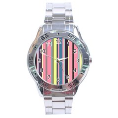 Seamless Colorful Stripes Pattern Background Wallpaper Stainless Steel Analogue Watch