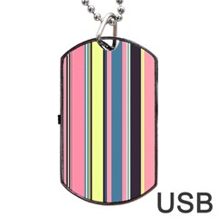 Seamless Colorful Stripes Pattern Background Wallpaper Dog Tag USB Flash (One Side)