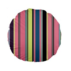 Seamless Colorful Stripes Pattern Background Wallpaper Standard 15  Premium Round Cushions
