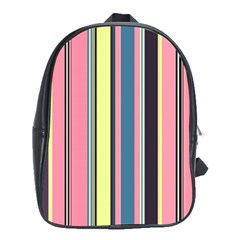 Seamless Colorful Stripes Pattern Background Wallpaper School Bags (XL)