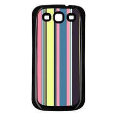 Seamless Colorful Stripes Pattern Background Wallpaper Samsung Galaxy S3 Back Case (Black)