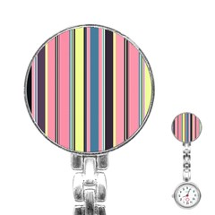 Seamless Colorful Stripes Pattern Background Wallpaper Stainless Steel Nurses Watch