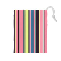 Seamless Colorful Stripes Pattern Background Wallpaper Drawstring Pouches (Large)