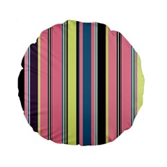 Seamless Colorful Stripes Pattern Background Wallpaper Standard 15  Premium Flano Round Cushions