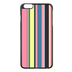 Seamless Colorful Stripes Pattern Background Wallpaper Apple iPhone 6 Plus/6S Plus Black Enamel Case