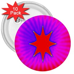 Pink Digital Computer Graphic 3  Buttons (10 Pack)