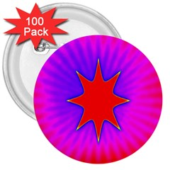 Pink Digital Computer Graphic 3  Buttons (100 Pack)