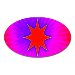 Pink Digital Computer Graphic Oval Magnet