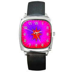 Pink Digital Computer Graphic Square Metal Watch