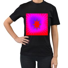 Pink Digital Computer Graphic Women s T Shirt (black) (two Sided)