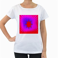 Pink Digital Computer Graphic Women s Loose Fit T Shirt (white)