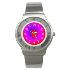 Pink Digital Computer Graphic Stainless Steel Watch