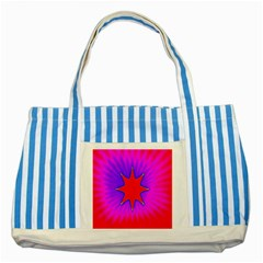 Pink Digital Computer Graphic Striped Blue Tote Bag