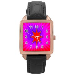 Pink Digital Computer Graphic Rose Gold Leather Watch