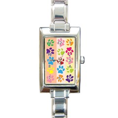 Colorful Animal Paw Prints Background Rectangle Italian Charm Watch