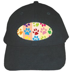 Colorful Animal Paw Prints Background Black Cap